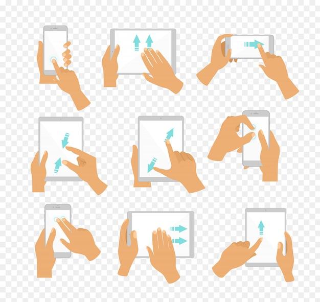 Ícones de mão de ilustração mostrando gestos comumente multi-touch para tablets ou smartphones com tela sensível ao toque, dedos movem as setas de cor azul mostrando a direção do movimento, fundo transparente