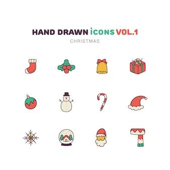 Ícones de mão desenhada cor cheia de natal