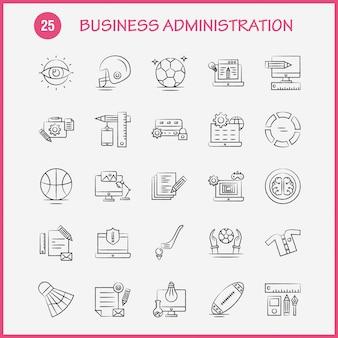 Ícones de mão desenhada de administração de empresas