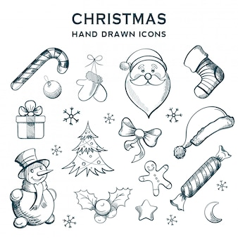 Ícones de mão desenhada de natal. decoração de férias de inverno.