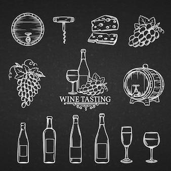 Ícones de mão desenhada de vinho.