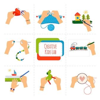 Ícones de mãos de crianças criativas