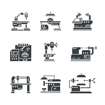 Ícones de máquinas-ferramentas da indústria de aço