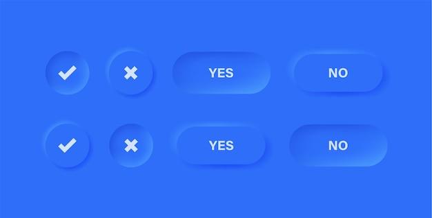 Ícones de marca de seleção botões em neumorfismo azul ou ícone aprovado e rejeitado com círculo neumorfo