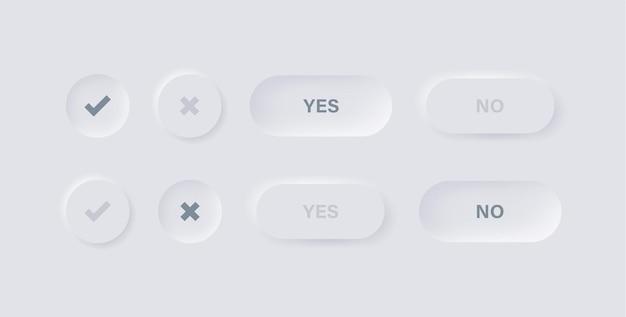 Ícones de marca de seleção em botões de neumorfismo com sim não texto para a interface ui ux do aplicativo em neumorfismo branco