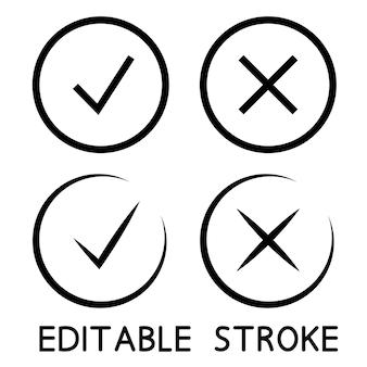 Ícones de marca de seleção na cor preta. linha fina. símbolos de aprovação e recusa. símbolos de contorno. ícones de marca de seleção. traço editável. ilustração vetorial isolada em fundo branco