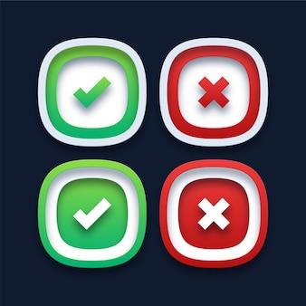 Ícones de marca de seleção verde e cruz vermelha