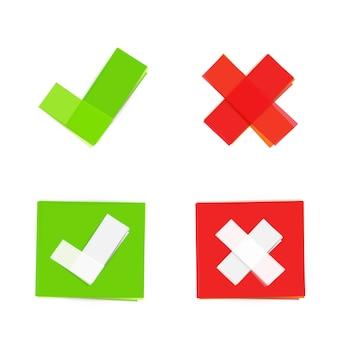 Ícones de marca de seleção verde e vermelho