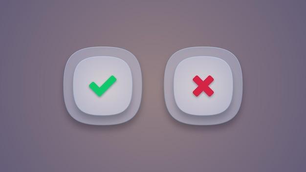 Ícones de marca de verificação verde e cruz vermelha