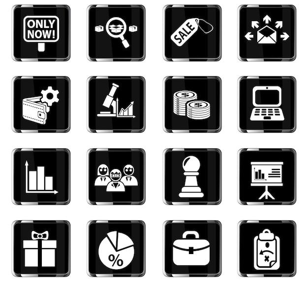 Ícones de marketing da web para design de interface de usuário