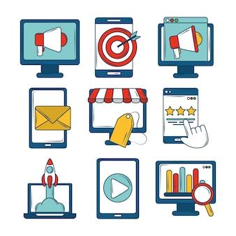 Ícones de marketing definem negócios financeiros de inicialização de e-mail de destino digital