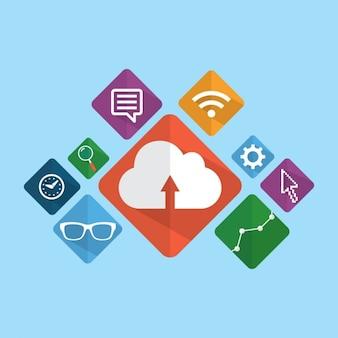 Ícones de marketing digital embalar