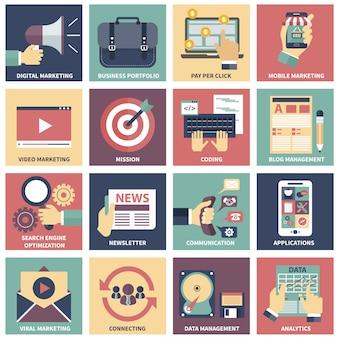 Ícones de marketing digital, publicidade em vídeo, mídias sociais