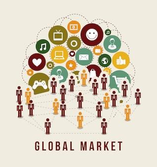 Ícones de marketing global sobre ilustração vetorial de fundo branco
