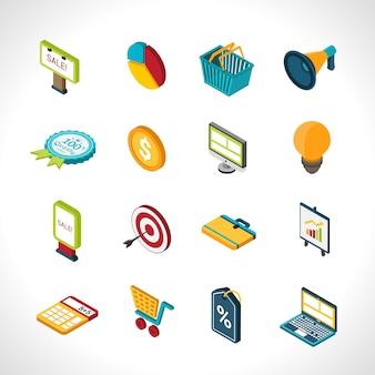 Ícones de marketing isométricos