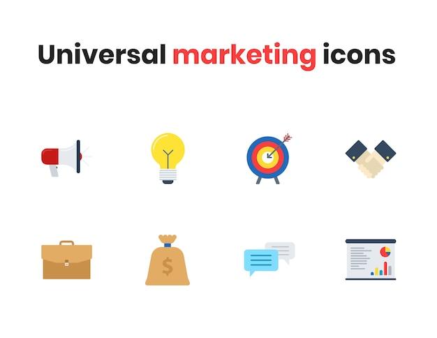Ícones de marketing universal Vetor Premium