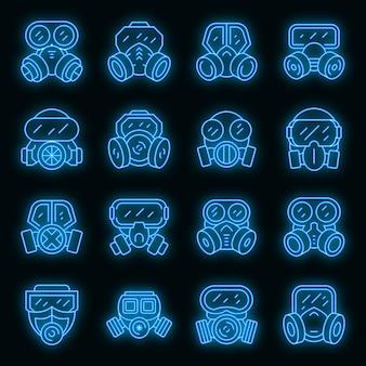Ícones de máscara de gás definem vetor de néon