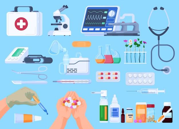 Ícones de medicamentos, medicamentos de farmácia, ilustração de medicina