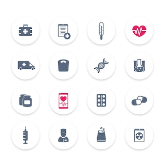 Ícones de medicina, cuidados de saúde, ambulância, hospital, pílulas, drogas, vacinação