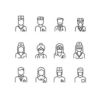 Ícones de médico, símbolos de enfermeira, avatares de profissionais médicos