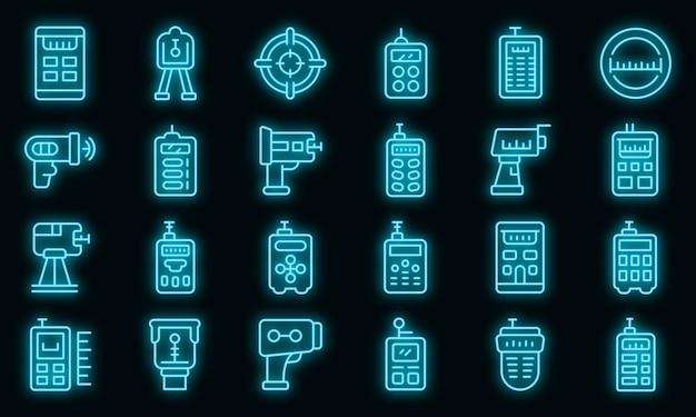 Ícones de medidor de laser definem vetor de néon