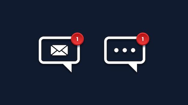 Ícones de mensagem com notificação