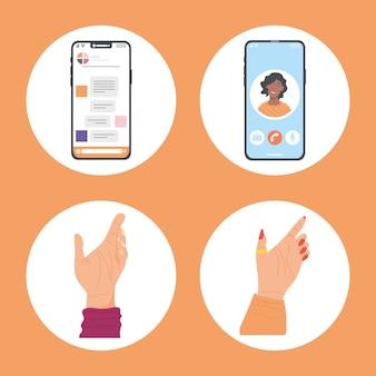 Ícones de mensagens e videochamada