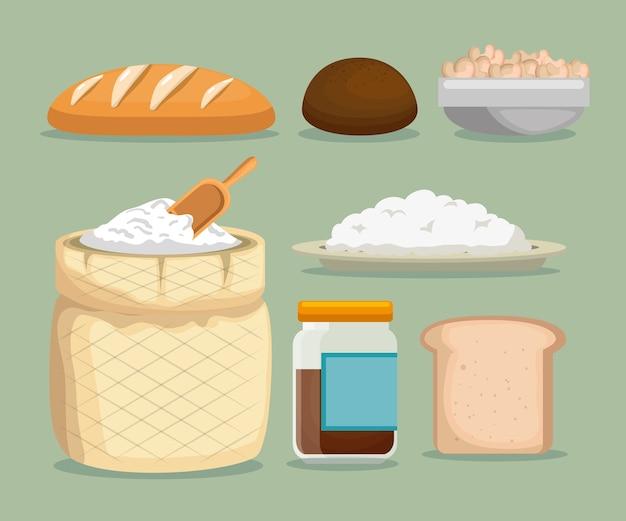 Ícones de menu de comida saudável