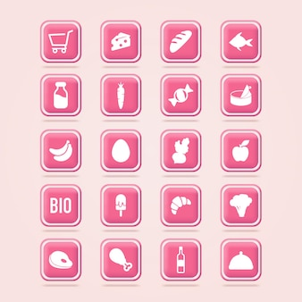 Ícones de mercearia carrinho de compras cesta de mercearia ícones de compras online botão da web