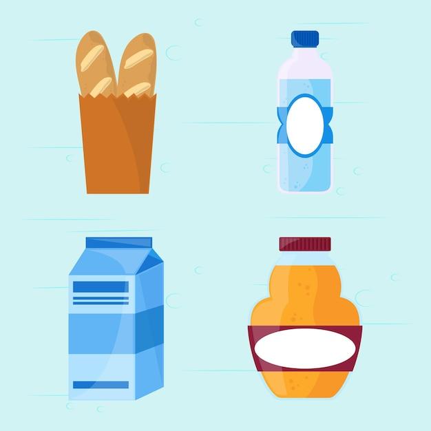 Ícones de mercearia de alimentos