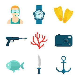 Ícones de mergulho planas