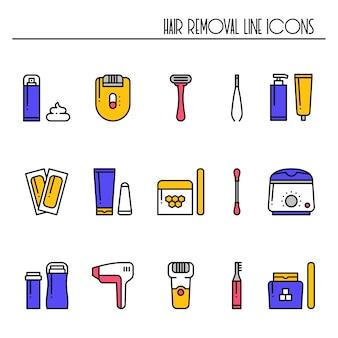 Ícones de métodos de remoção de cabelo.