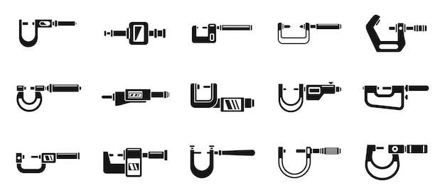Ícones de micrômetro de engenharia definem vetor simples. indicador industrial. equipamento em polegadas