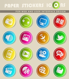 Ícones de mídia da web para design de interface de usuário