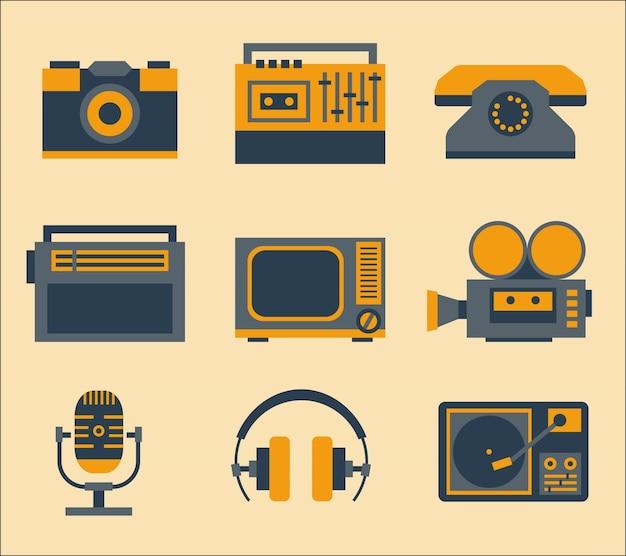 Ícones de mídia retro