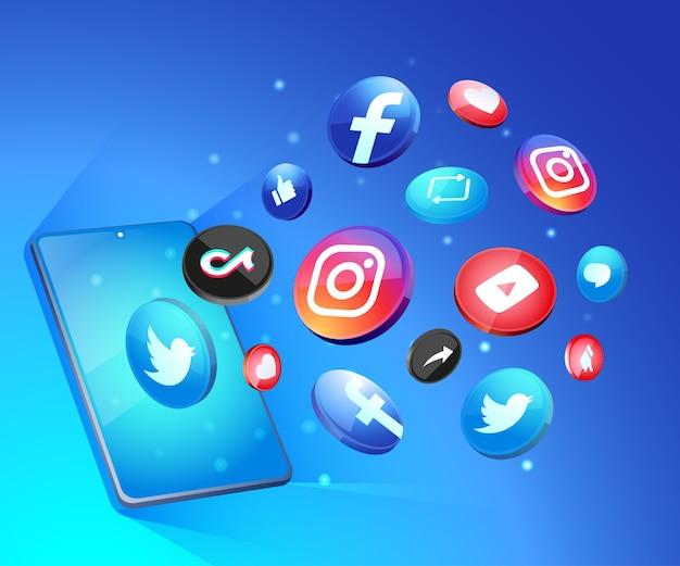 Ícones de mídia social 3d com smartphone