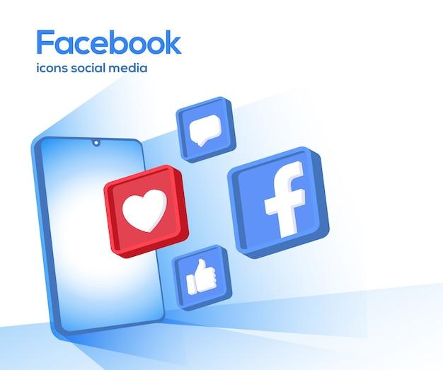 Ícones de mídia social 3d do facebook com símbolo de smartphone