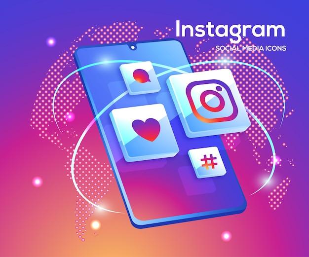 Ícones de mídia social 3d do instagram com símbolo de smartphone