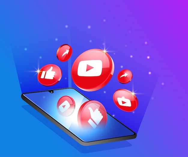 Ícones de mídia social 3d do youtube com símbolo de smartphone