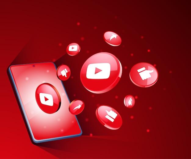 Ícones de mídia social 3d do youtube com smartphone