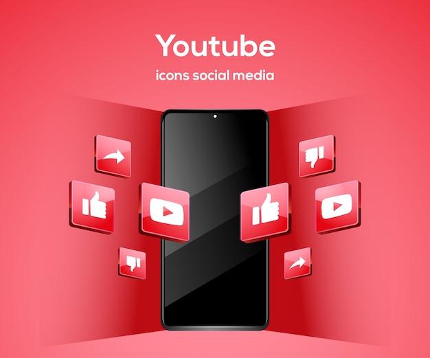 Ícones de mídia social 3d tiktiok com símbolo de smartphone