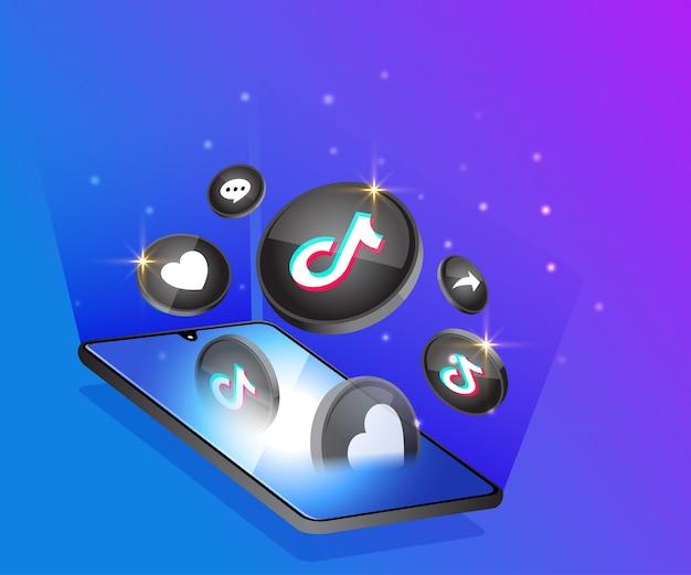 Ícones de mídia social 3d tiktok com símbolo de smartphone