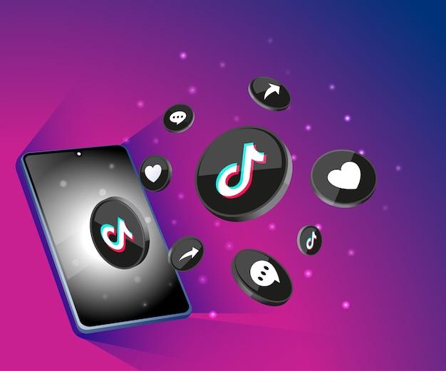 Ícones de mídia social 3d tiktok com smartphone