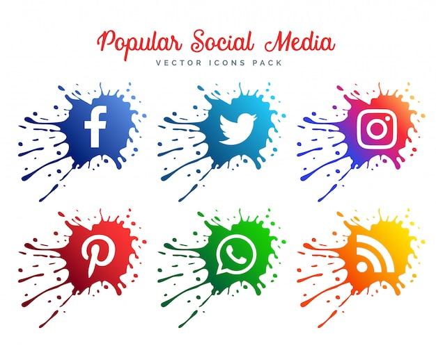 Ícones de mídia social abstrata