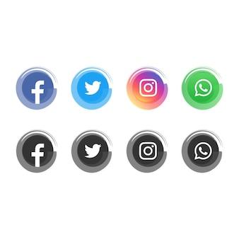 Ícones de mídia social aquarela moderna