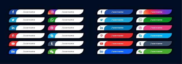 Ícones de mídia social banners do terço inferior