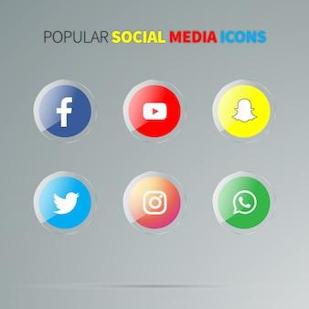 Ícones de mídia social brilhante