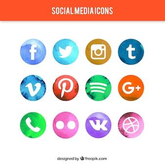 Ícones de mídia social circulares watercolor