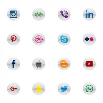 Ícones de mídia social circulares