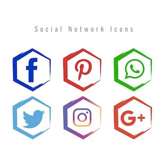 Ícones de mídia social colorida e abstrata